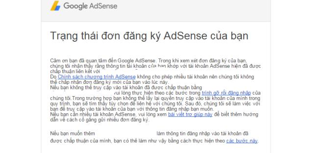 Don bi google adsense tu choi