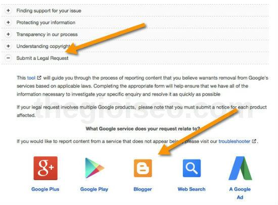 Su dung DMCA de loai bo noi dung sao chep tu Google Search