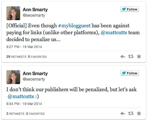 Matt Cutts: Google đã đưa ra hành động đối với mạng lưới Guest Blog